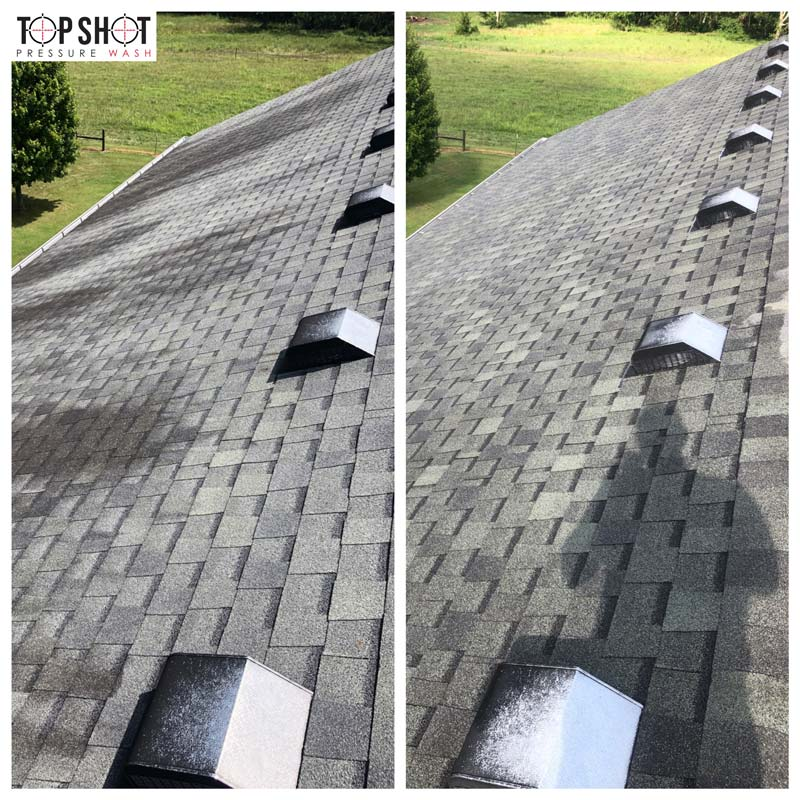 roof cleaning before and after
